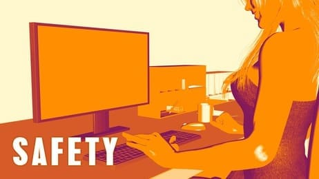 Safety Concept Course with Woman Looking at Computer