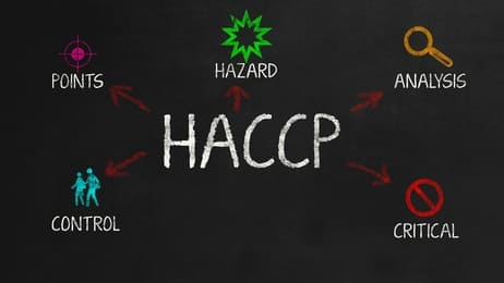 HACCP - Concept on black chalkboard